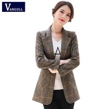Vangull Women Autumn Plaid Blazer Spring Long Sleeve Slim Checked Coat Formal Ja
