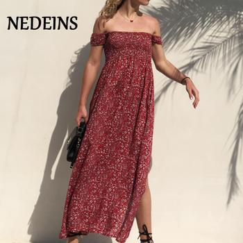 NEDEINS Women Summer Sexy Floral Dress Short Female Elegant Long Dress Woman Party Night Summer Dress 2020
