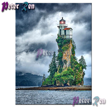 5d Landscape lighthouse Diamond painting Diy Square/round Rhinestones cross stitch embroidery picture Modern home decoration