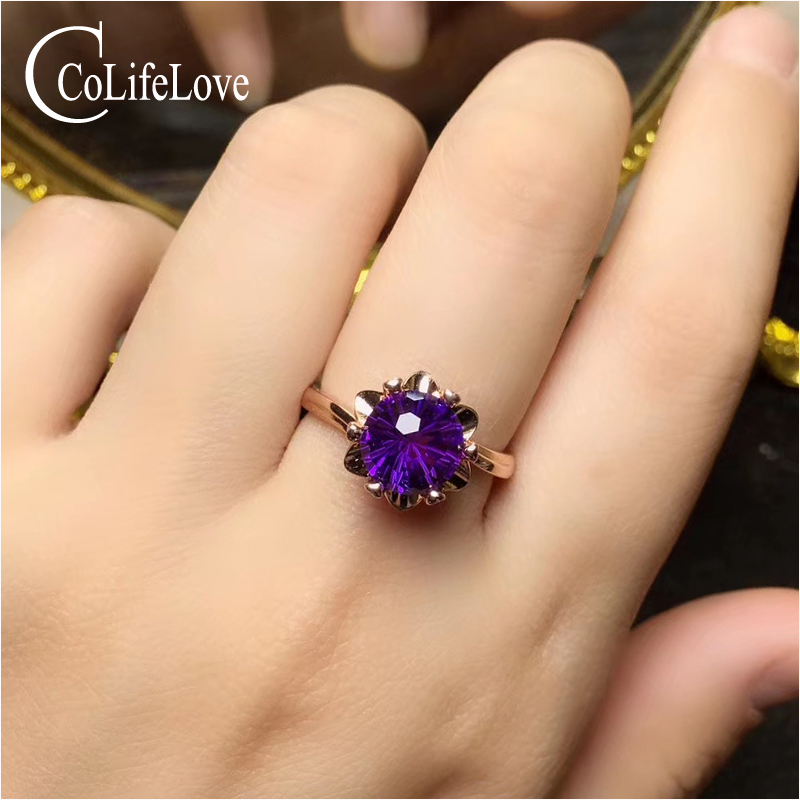 Gemstone-Ring Citrine/amethyst Silver Natural 8mm for Daily-Wear Colife