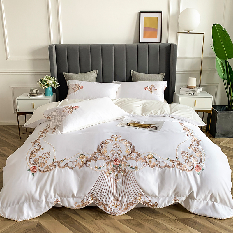 New Premium White Soft Breathable Embroidery Bedding Set Satin Washed Silk Duvet Cover Cotton Bed Linen Fitted Sheet Pillowcases