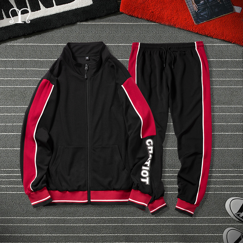 Two Pieces Sets Tracksuit Men Autumn Spring Zipper Sweatshirt Tops + Pants Male Patchwork Sweatsuit Hip Hop Outwear Sportswear