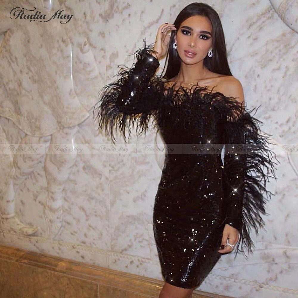 Sparkle Sequin Black Feathers Short Prom Dresses With Long Sleeves Off Shoulder Sexy Semi Formal Dress Cocktail Party Gala Gowns
