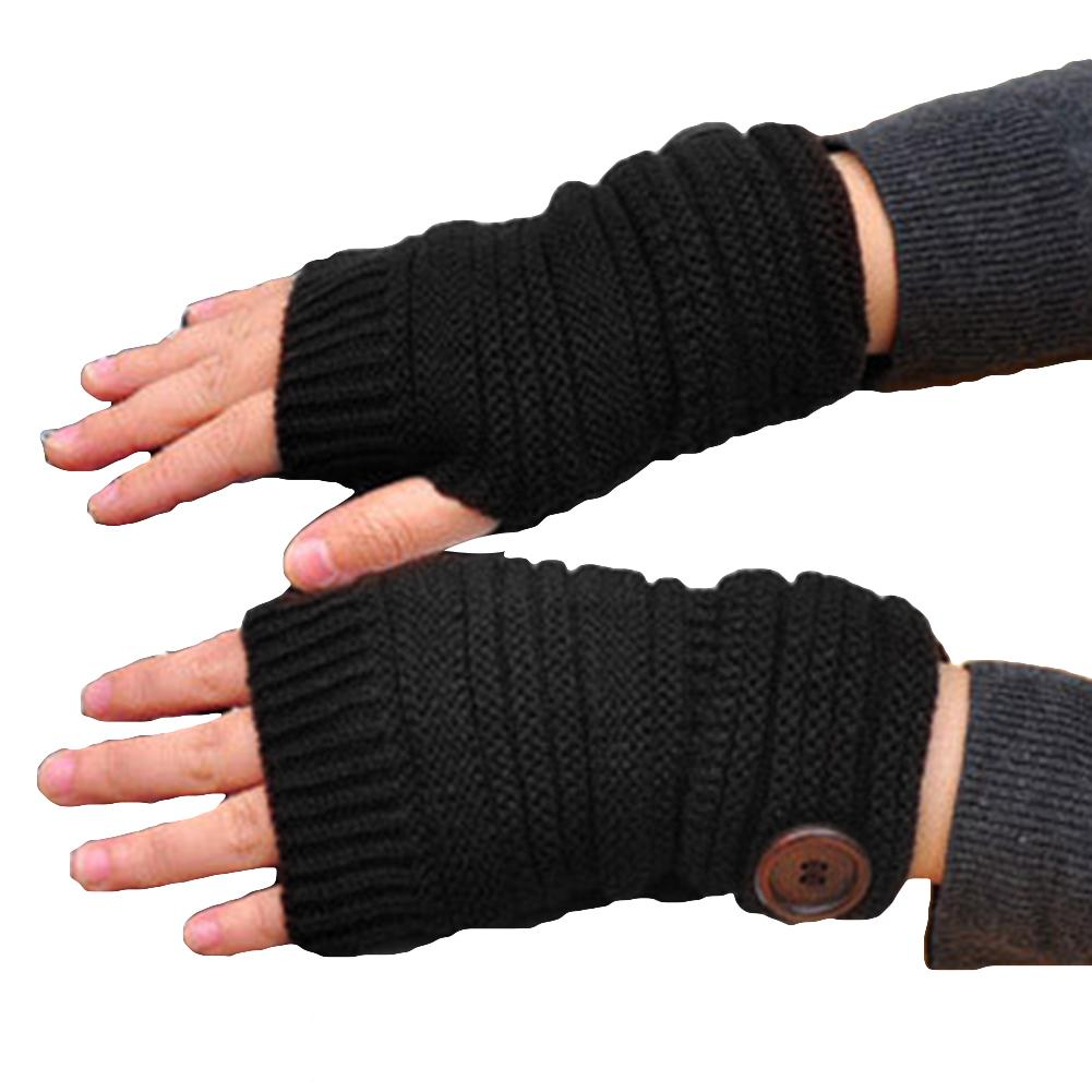 Autumn Winter Women Solid Color Knitted Gloves Warm Fingerless Button Mittens