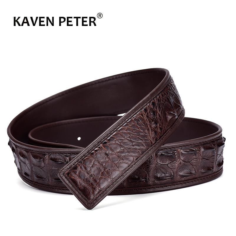 100% Real Crocodile Skin Leather Belts For Men Without Buckle 3.8 CM Width Top Quality Strap Black Dark Brown Color
