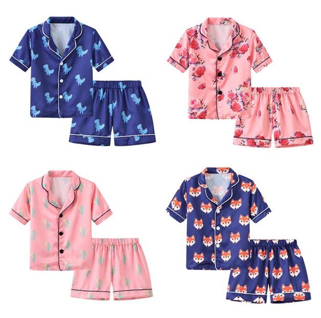 Cartoon Animal Print Floral Girl Boy Pajamas Sets Children Suit Sleep Wear Kids Suits Pajama Set Short Sleeve Shirt Shorts