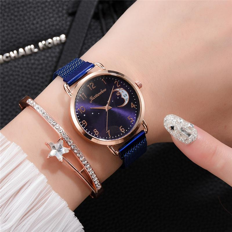 Rose Gold Mesh Strap Women's Fashion Watches Simple Numbers Dial Luxury Quartz Watch Women Clock Rose Gold Pointer Wristwatches 2