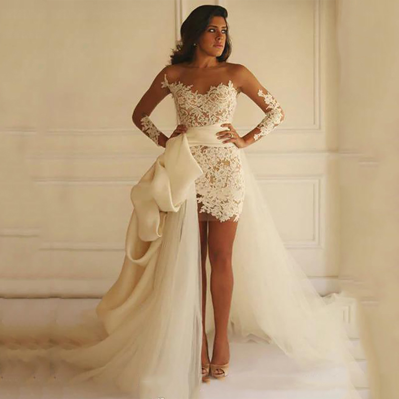 Smileven Wedding Dress Cap Sleeves White Ivory Bride Dresses Train Elegant Wedding Bridal Gowns 2019