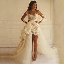 فستان زفاف Smileven بأكمام قصيرة لون أبيض عاجي فساتين للعروس ذيل أنيق لزفاف 2019