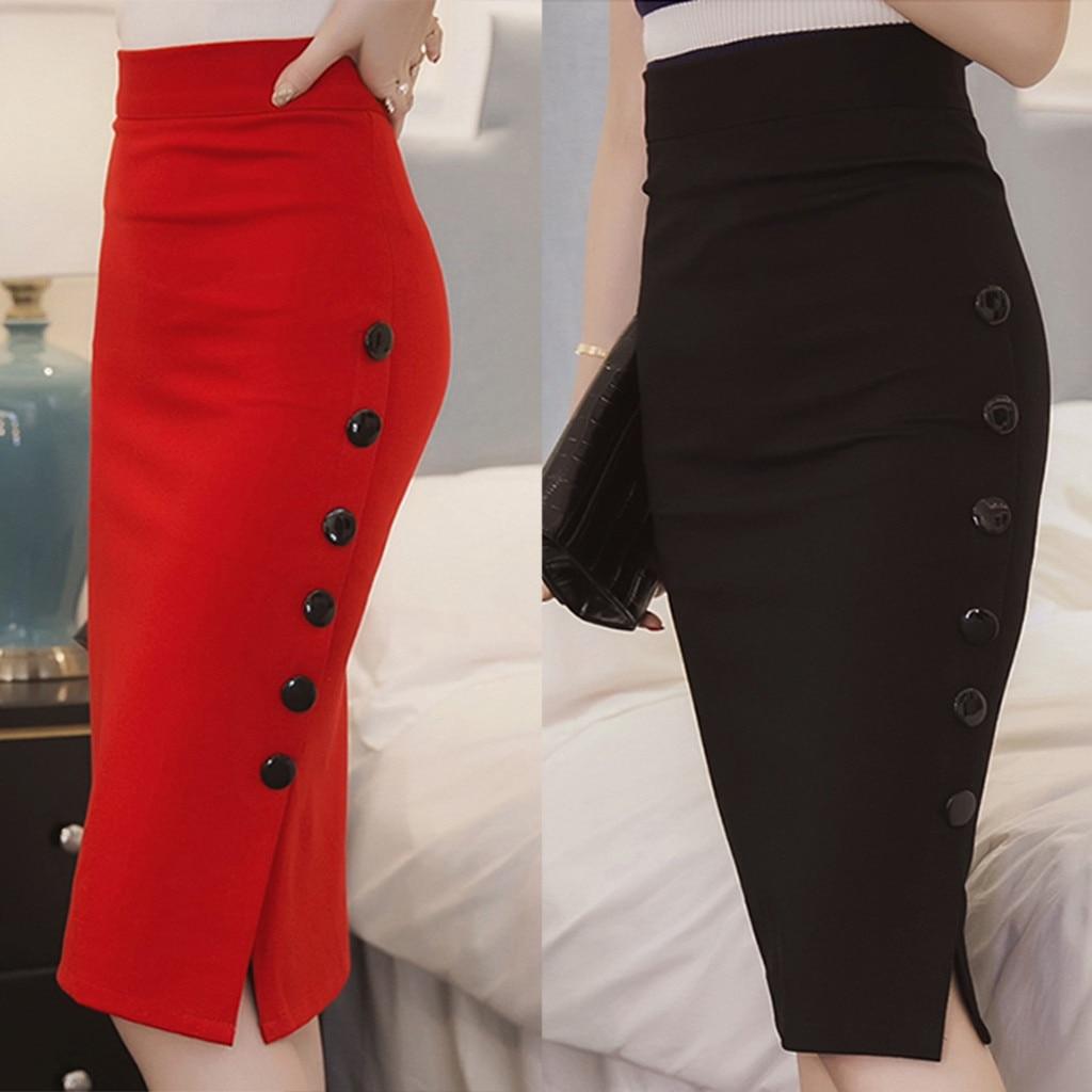feitong Sexy side split button women skirt Elegant pleated female midi skirt ladies Office Skirt High waist party wear 9M2
