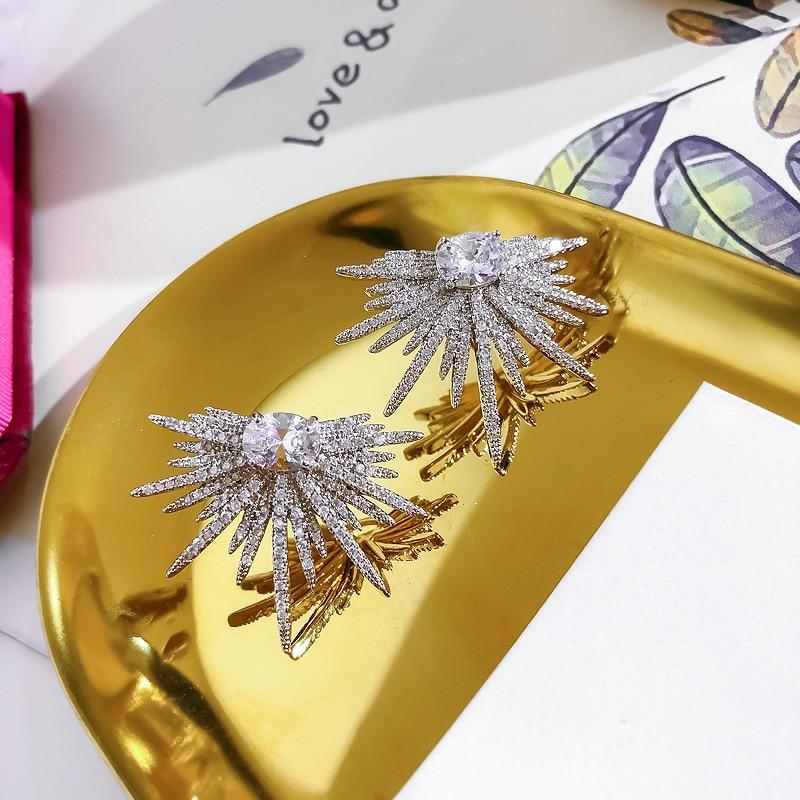 fashion jewelry luxury full zircon shiny exaggerated star earrings personality irregular star star women nightclub party earring