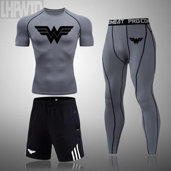 Wonder Woman Men's full Suit Compression Sport Suit Gym joggers Running Short sleeve Shirts leggings Basketball sportwear 10