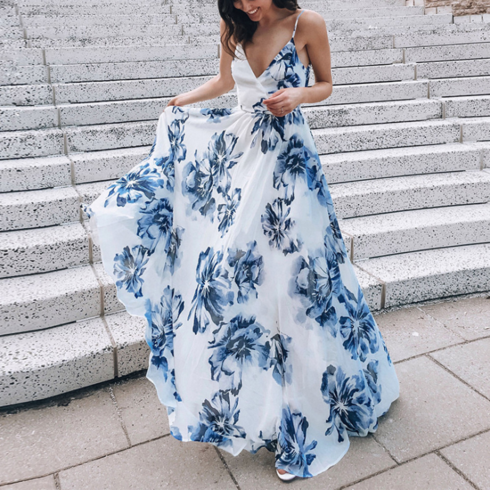 Women Beach Dresses Summer Sexy Maxi Boho Style Print Party Dress Sleeveless Deep V Neck Backless Long Dress Vestidos 2020 New