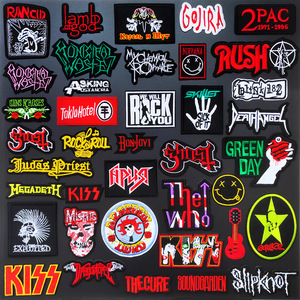 ROCK MUSIC Cloth Mend Decorate Iron On Patch Clothes Apparel Sewing Decoration Applique Sew On Patches For Clothing L100-028