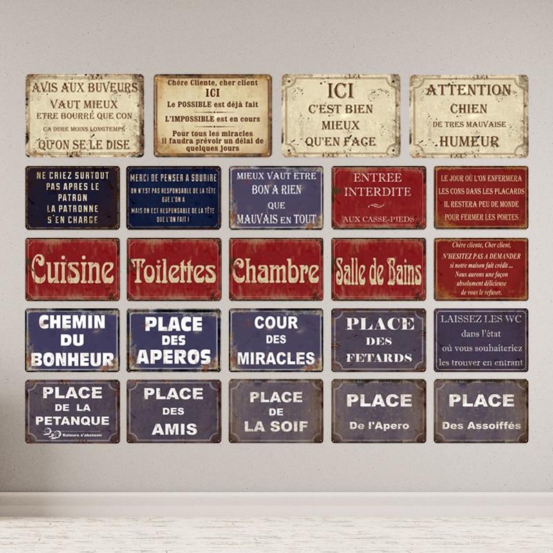 place des aperos plaque metal vintage french retro metal tin sign toilet cuisine shop wall decor iron painting decorative plate