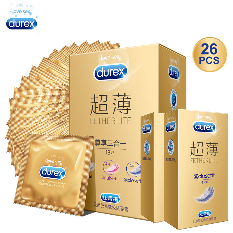 Durex Condom Super Feeling 3in1 Etra lubricant Thin Slim Natural Latex Sex Products Intimate Goods Penis Sleeve Sex for Men