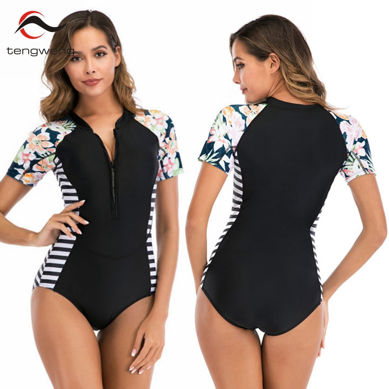 Tengweng 2020 sexy floral listrado uma peça empurrar para cima das mulheres roupa de banho preto manga curta acolchoado maiô plus size feminino natação terno