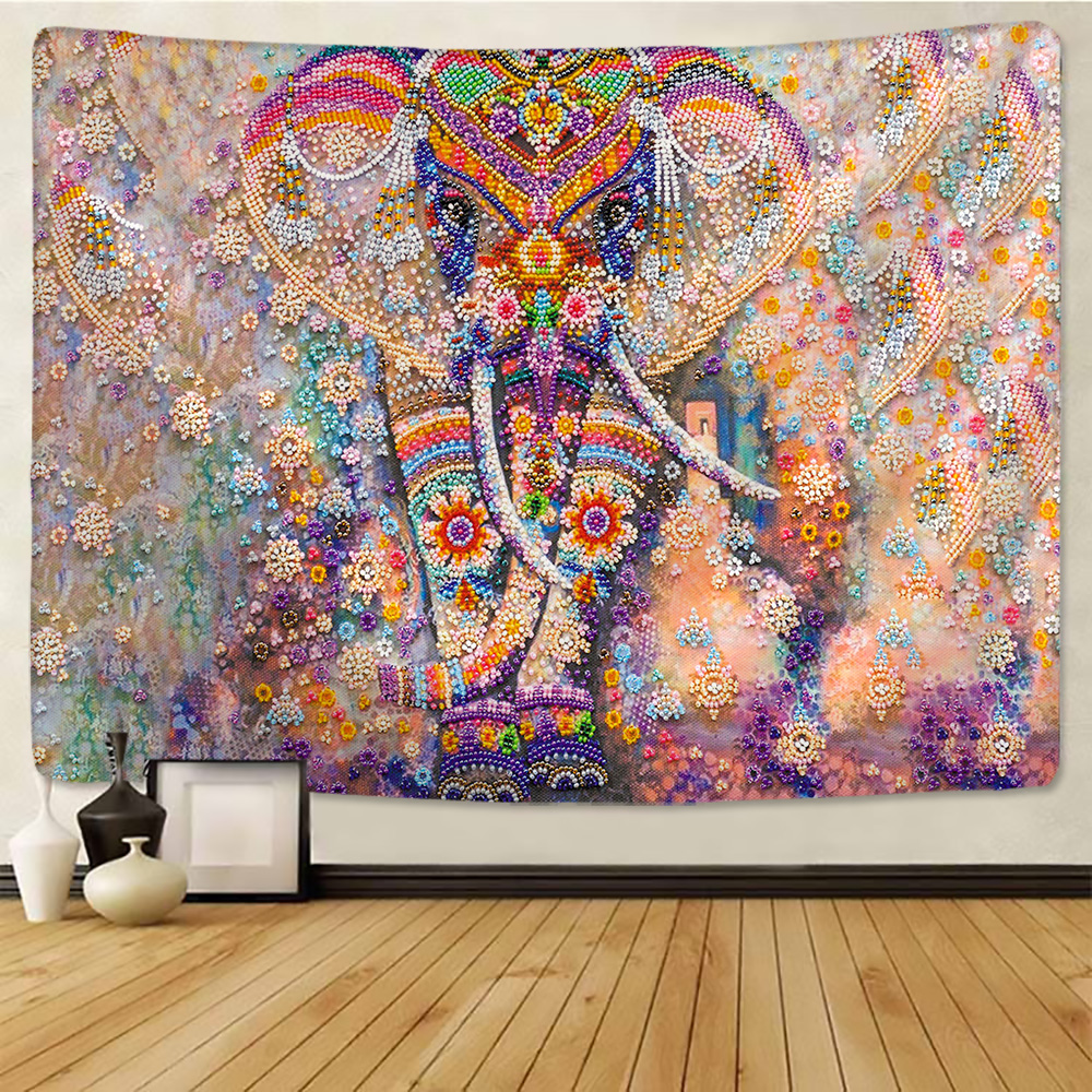 Colorful Pearl Elephant Tapestry 3d Mosaic Style Hippie Boho Wall Tapestries Mandala Fabric Mat Living Room Decor Tapestry Aliexpress