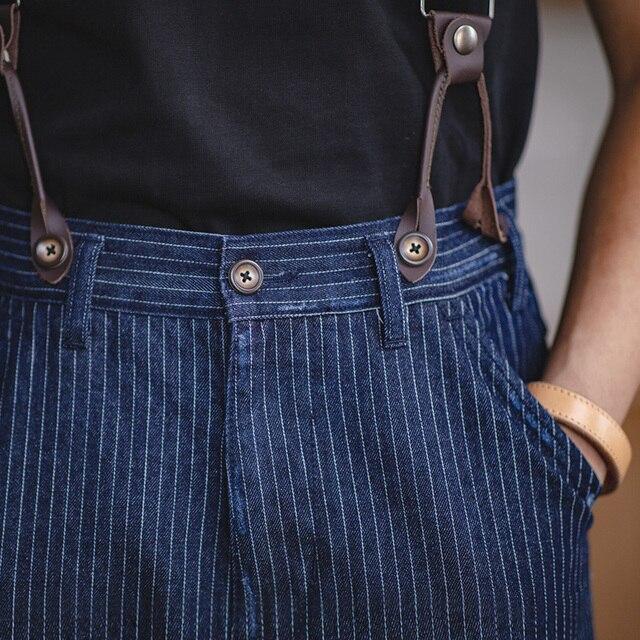 Maden Men's Retro Casual Blue Striped Pants Scottish plaid hem Regular Straight Fit Denim Work Pants With Detachable Suspenders 1