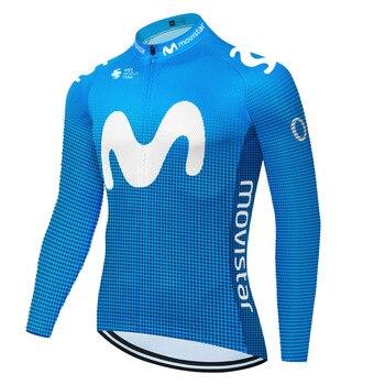 Movistar-maillot de ciclismo para hombre, ropa de equipo profesional de manga larga...