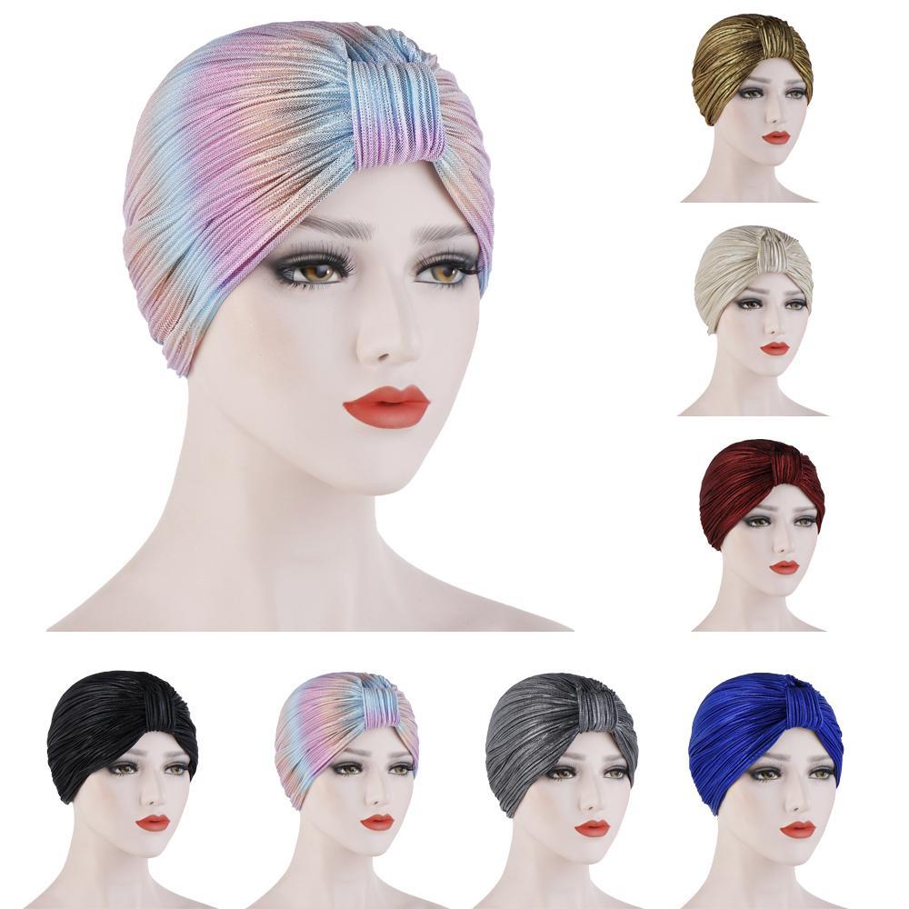 Индийский женский плиссированный головной шарф, шапка  мусульманский тюрбан, Chemo Turban Beanies, женские банданы, аксессуары  для волос, крышка капота, моднаяЖенские Skullies и шапочки   -