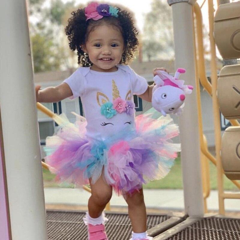 Детская одежда для девочек, одежда, радужные платья с единорогом на 1-й день рождения, платье-пачка, милое вечернее платье принцессы, платье д...