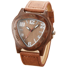 Triangle Wood Watch Men Natural Bamboo Wooden Watch