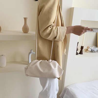2020 luksusowy projektant splot krata chmura kształt kobiety plisowana kluska torba na ramię mała śliczna dama torebka na pasek