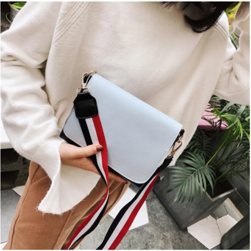 2020 Candy Color Women's Shoulder Korean-style New Style Stripes Wide Messager Bag Crossbody Bag Square Sling Bag