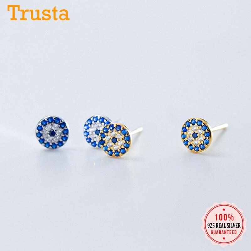 Trustdavis-pendientes de plata de ley 925 con ojos azules, joyería de plata con cristales de circonia cúbica transparente, DS969