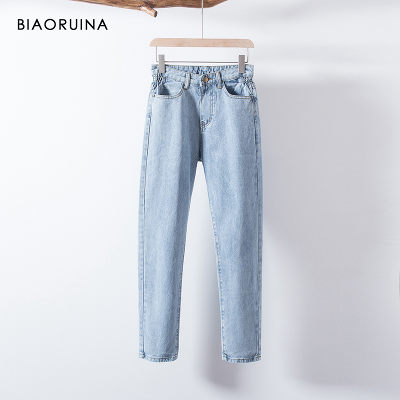 BIAORUINA Women's Washing Light Blue Bleached Jeans Female Fashion High Waist Straight Jeans Ladies Casual Streetwear Jeans