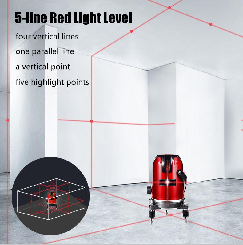 PRACMANU 5 линий 6 точек лазерный уровень автоматический самонивелирующийся 360 вертикальный и горизонтальный наклон градусов поворотный LD 635nm открытый режим