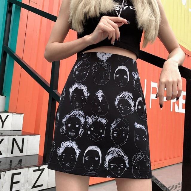 Korean Style Skirts Retro Comic Print High Waist Wild A Line Skirt Fashion Women Bag Hip Mini Skirt 10