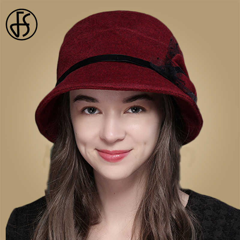 FS Vintage Wanita Ember Topi Wol Hangat Wanita Topi Warna Solid Biru Merah Anggur Unta Merasa Cloche Topi