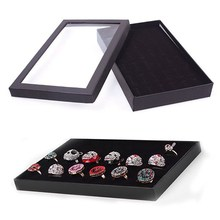 36 Slots Jewellery Box Ring Storage Earrings Display Jewelry Organizer Holder Transparent Window Show Case