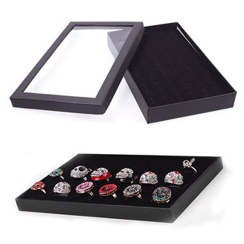 цена 36 Slots Jewellery Box Ring Storage Earrings Display Box Jewelry Organizer Holder Transparent Window Show Case онлайн в 2017 году