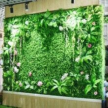 ירוק מלאכותי צמח קיר אקליפטוס דשא פלסטיק דשא DIY תפור לפי מידה מרפסת מלון קניון נוף קיר קישוט