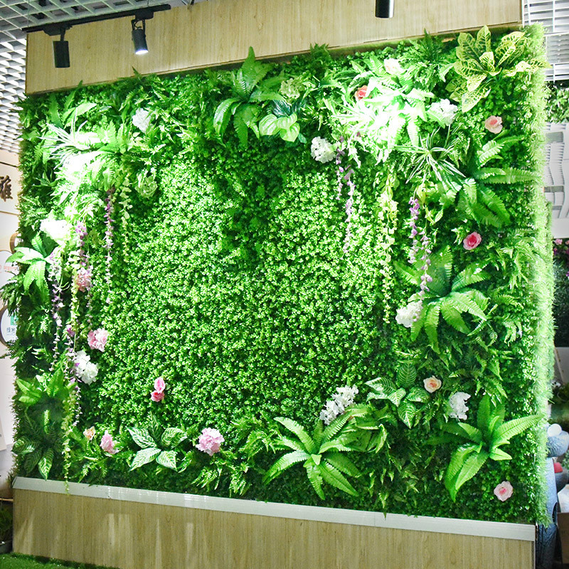 Green Artificial Plant Wall Eucalyptus Lawn Plastic Grass DIY Custom Made Balcony Hotel Shopping Mall Landscape Wall Decoration