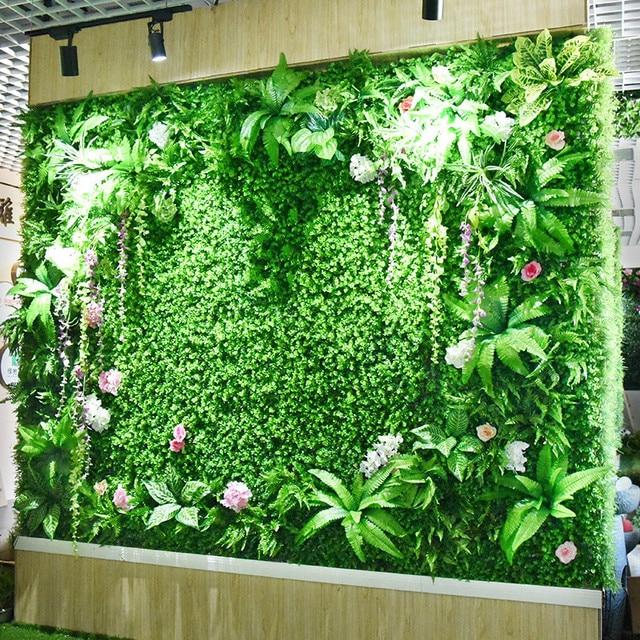 Planta de pared Artificial verde césped de plástico de eucalipto, bricolaje, balcón, Hotel, centro comercial, decoración de pared de paisaje