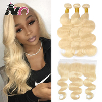 NY Hair 613 Blonde 3 Bundles With 13*4 Frontal Ear to ear Malaysia Body With Frontal Human Hair Lace Closure With Bundles