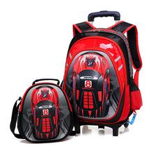 Torby szkolne 3D na kółkach plecaki szkolne plecaki na kółkach plecaki szkolne dla dzieci plecaki szkolne dla chłopca torby podróżne dla dzieci tanie tanio INFEYLAY zipper Torba na kółkach 1 9kg 42cm Cartoon 2057399 Chłopcy 17cm 33cm