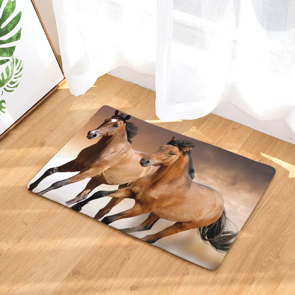 Animal Horse Style Door Mat Floor Carpet For Living Room Pentium Horse Pattern Flannel Rug Anti-Slip Doormat Home Decor