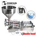 ZONESUN double têtes machine de remplissage automatique pneumatique trémie crème shampooing huile cosmétique miel nourriture boisson pâte remplisseur