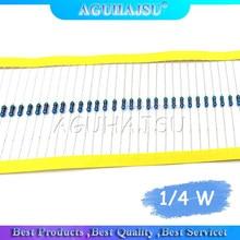 O resistor do filme do metal de 1/4 w é 10 k + - 1% fileira com precisão colorida 0.25 w do anel (100 pces/)
