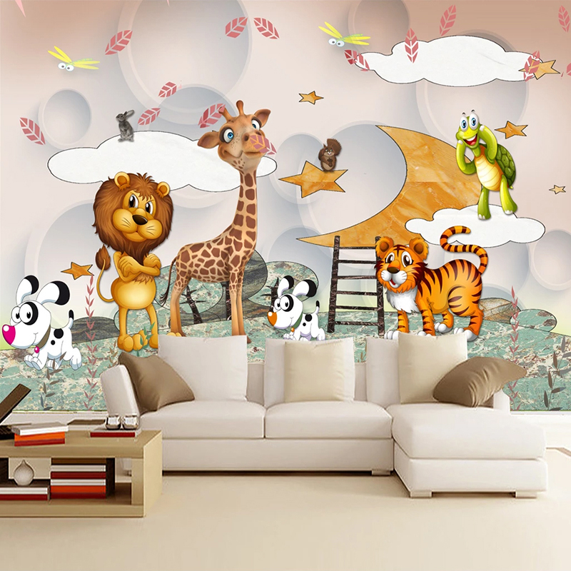 Custom 3D Wall Murals Wallpaper For Kids Room Cartoon Animal Boys And Girls Bedroom Children Room Decoration Photo Wall Paper