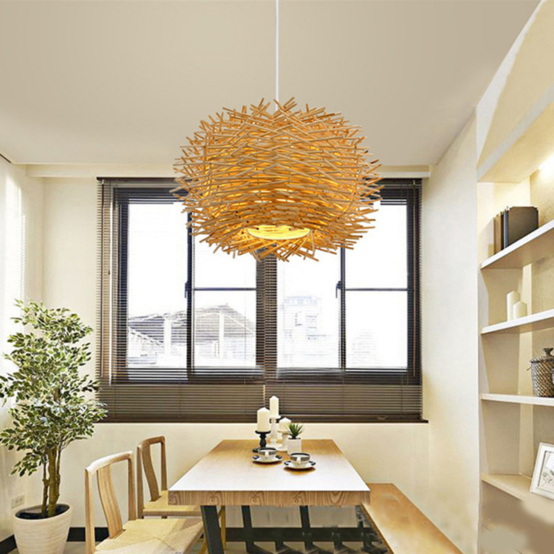 Southeast Asian Handmade Bird Nest Pendant Light Wicker Hotel Restaurant Dinning Room Cafe Bar lustre Modern Hanging Suspension