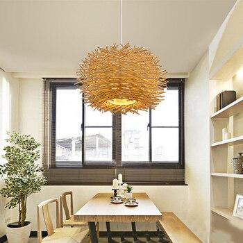 цена Southeast Asian Handmade Bird Nest Pendant Light Wicker Hotel Restaurant Dinning Room Cafe Bar lustre Modern Hanging Suspension онлайн в 2017 году