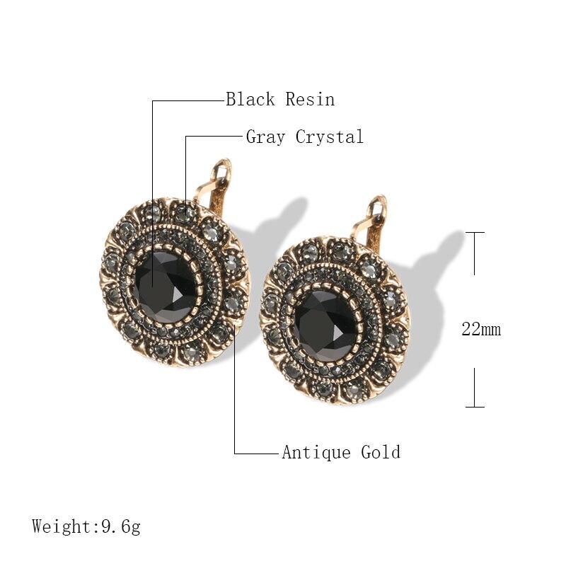 Kinel Hot Boho Gray Crystal Stud Earrings For Women Antique Gold Fashion Black Stone Vintage Earrings Bride Wedding Jewelry
