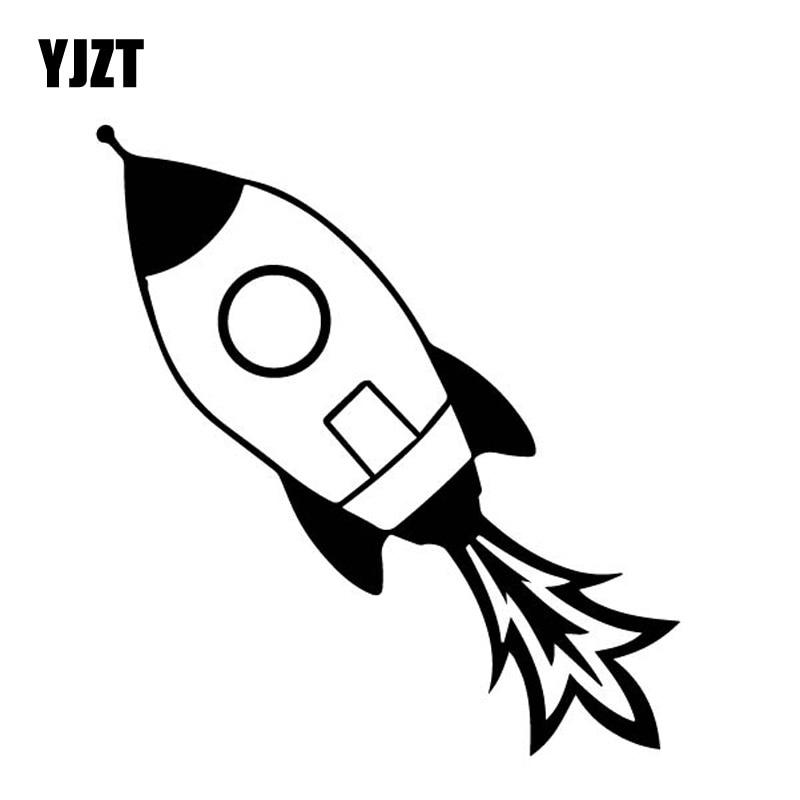 YJZT 14.4CM*15.4CM Beautiful Ordinary Rocket Dazzling Vinly Decal Interesting Decor Car Sticker Black/Silver C27-1279