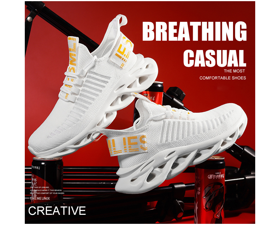 Rommedal men lightweight blade running shoes shockproof lack up breathable male sneakers height increase walking Gym shoes man